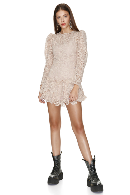 Beige Crochet Lace Mini Dress