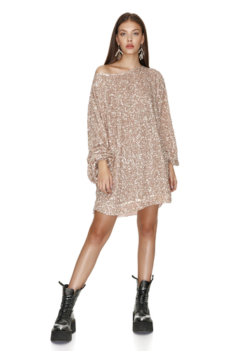 Beige Sequin Mini Dress - PNK Casual