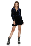Bleu Marine Velvet Wrap Mini Dress