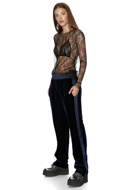 Bleumarine Velvet Pants With Viscose Side