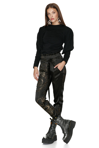 Black Silk Metallic Pants - PNK Casual