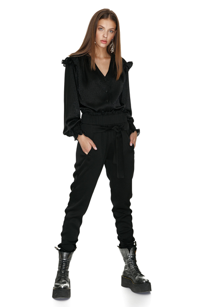 Tapered Viscose Pants With Pleated Detailing