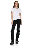 Black Cotton Pants With Ruffles Detalis