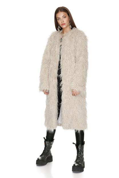 Beige Oversized Midi Coat