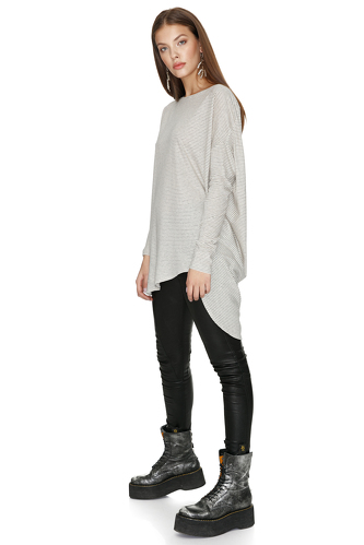 Oversized Cotton Striped Top - PNK Casual