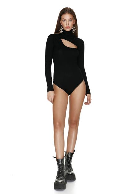 Black Cotton Rib Bodysuit