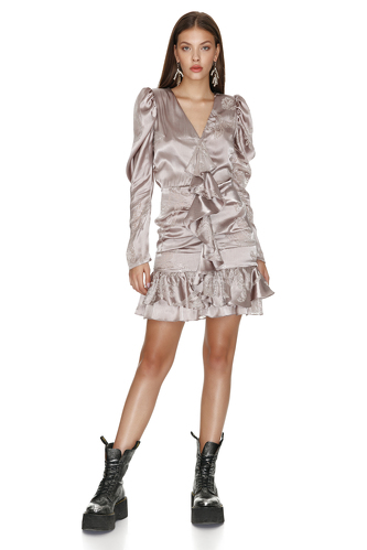 Ruffled Rose Silk Metallic Mini Dress - PNK Casual