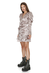 Ruffled Rose Silk Metallic Mini Dress