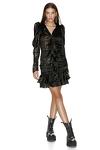 Ruffled Black Silk Metallic Mini Dress