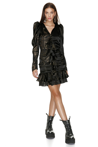 Ruffled Black Silk Metallic Mini Dress - PNK Casual