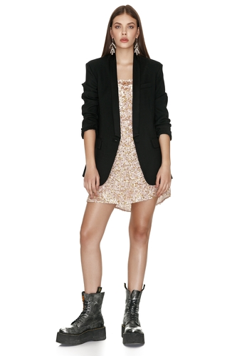 Black Viscose-Wool Blazer - PNK Casual