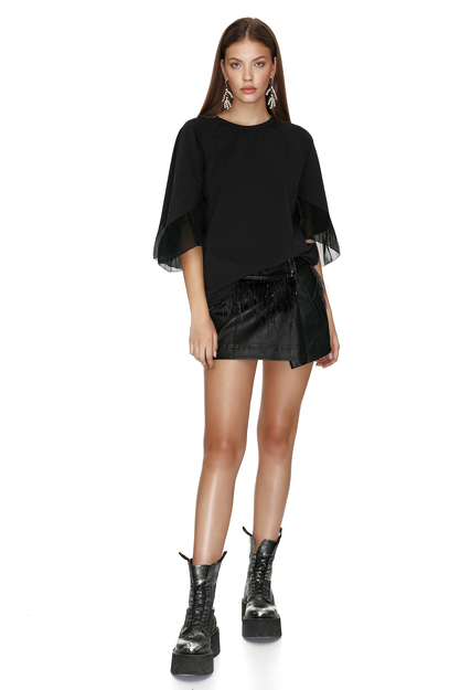 Black Blouse With Silk Sleeves