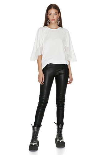 White Blouse With Silk Sleeves - PNK Casual