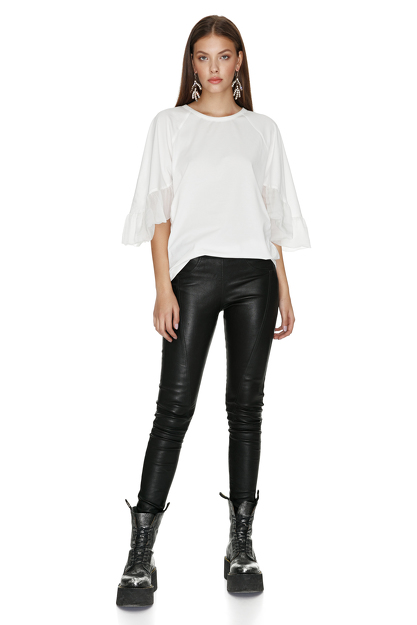 White Blouse With Silk Sleeves