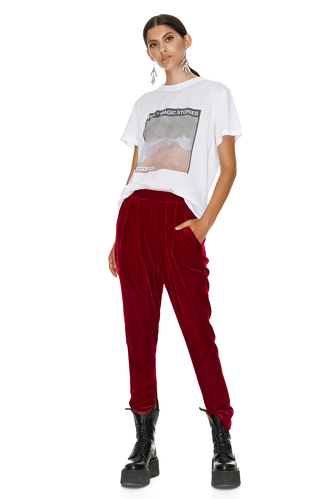 Red Velvet Track Pants - PNK Casual