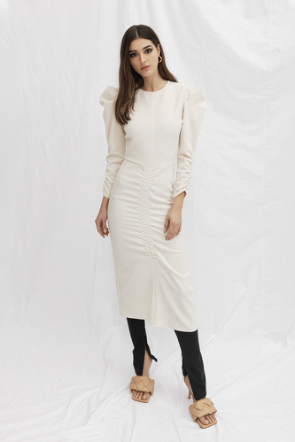 Slimming Effect White Midi Dress - PNK Casual