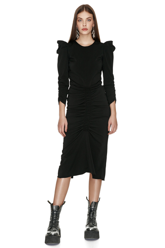 Slimming Effect Black Midi Dress - PNK Casual