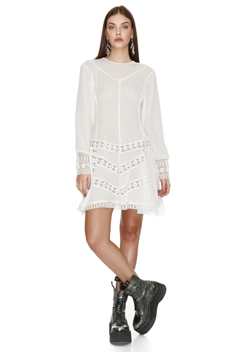 White Velvet Dress With Lace Insertions - PNK Casual