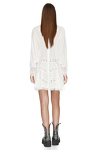 White Velvet Dress With Lace Insertions