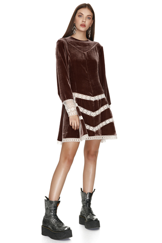 Brown Velvet Dress With Lace Insertions - PNK Casual