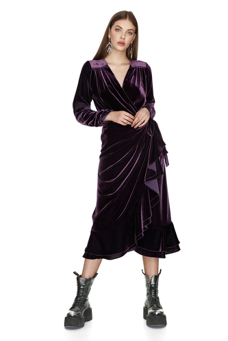 Purple Velvet Wrap Midi Dress - PNK Casual