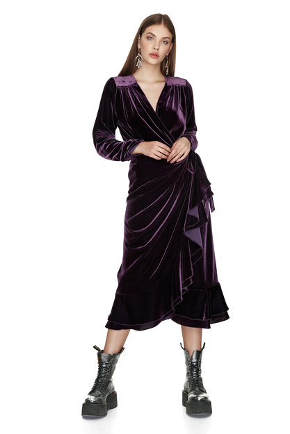 Purple Velvet Wrap Midi Dress
