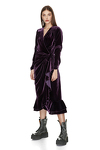 Purple Velvet Wrap Midi Dress