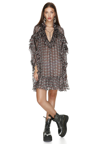 Printed Mini Dress With Ruffles - PNK Casual