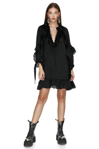 Black Mini Dress With Ruffles - PNK Casual