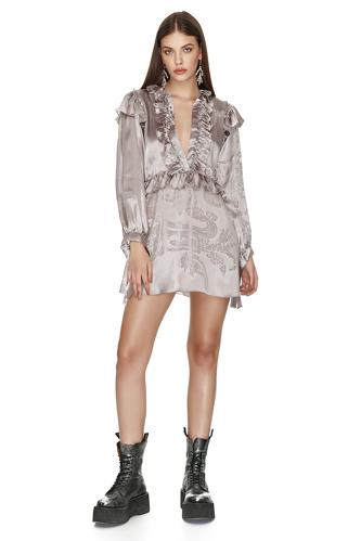 Silk Rose Metallic Ruffled Mini Dress - PNK Casual