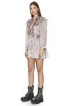 Silk Rose Metallic Ruffled Mini Dress