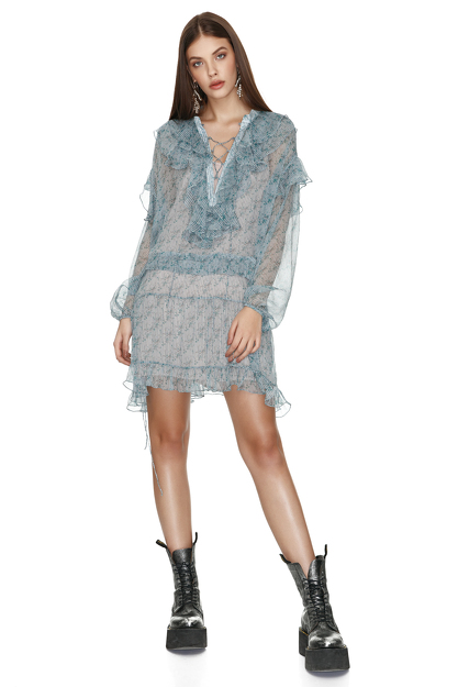 Printed Silk Mini Dress With Ruffles and Ties