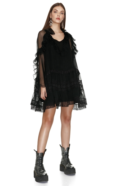 Black Mini Silk Dress with Cotton Lace Insertions