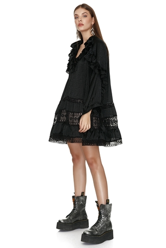 Black Mini Dress with Cotton Lace Insertions - PNK Casual