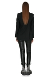 Black Wool Blazer With Feathers