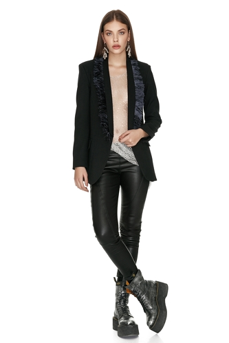 Black Wool Blazer With Feathers - PNK Casual