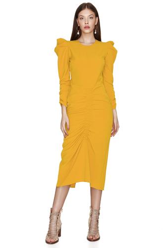Slimming Effect Yellow Midi Dress - PNK Casual