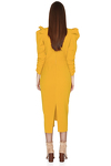 Slimming Effect Yellow Midi Dress