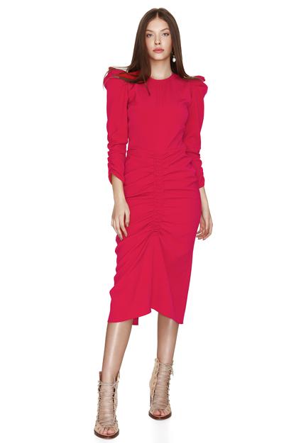 Slimming Effect Fuchsia Midi Dress