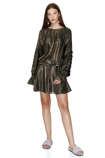 Black Gold Silk Dress With Oversize Sleeves