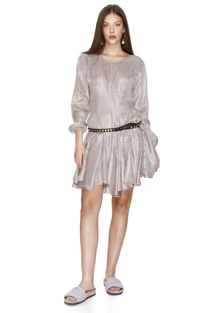 Rose Silk Metallic Flared Dress