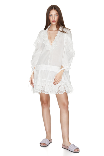 White Bohemian Cotton Lace Dress - PNK Casual