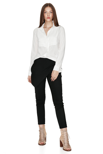 White Cotton Pleated Shirt - PNK Casual