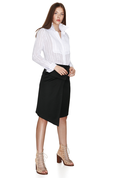 Cotton White Pleated Shirt
