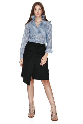 Cotton Striped Pleated Shirt - PNK Casual