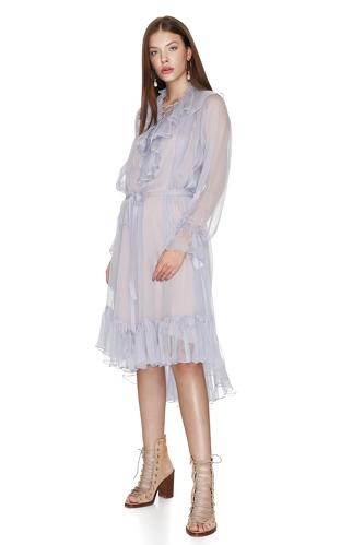 Blue-Grey Silk Chiffon Ruffled Midi Dress - PNK Casual