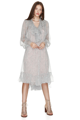 Floral Print Silk Chiffon Ruffled Midi Dress - PNK Casual