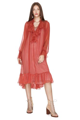 Brick Orange Silk Chiffon Ruffled Midi Dress - PNK Casual