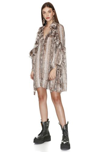 Animal Print Mini Dress With Ruffles - PNK Casual