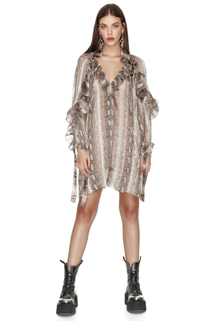 Animal Print Mini Dress With Ruffles - PNK Casual 084e9b492